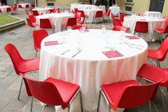 Group of laid tables Royalty Free Stock Image