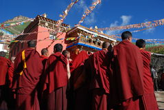 A group of lamas in a Dharma assembly Royalty Free Stock Image