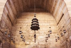 Group of lanterns hanging from the ceiling in old mosques royalty free stock images