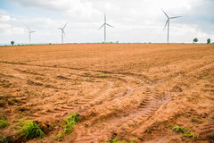 Group Large wind turbines Royalty Free Stock Images