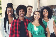 Group of latin american and african and hispanic young adults. Outdoor in the city royalty free stock images