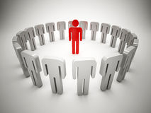 Group with leader. 3d illustration. Leader and crowd without heads Stock Images