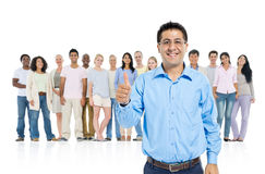 Group Leadership Thump Up and Standing Out from The Crowd Royalty Free Stock Images