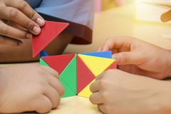 Group learning is learning by children. Learn math by the shape stock photo