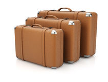 Group of leather suitcases Stock Photo