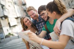 Group led by tour guide. Tourist group led by tour guide on their travel royalty free stock image