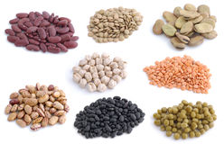 Group of legumes. Isolated in background white Stock Images