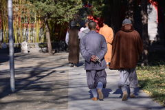 A group of leisurely monk stock photo