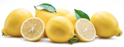 Group of lemon fruits with lemon leaves on the white background. Royalty Free Stock Images