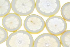 Group lemon slices close to the light. Stock Photos