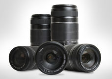 Group of lenses. Group of zoom lenses on white background royalty free stock photography