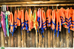 Group of Life jacket or life vest or air jacket Stock Photo