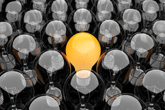 Group of light bulbs. 3d render of a group of light bulbs stock illustration