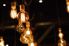Group of lighted bulbs