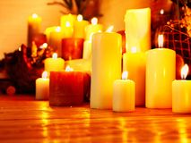 Group lighted candle in spa salon. Stock Photo