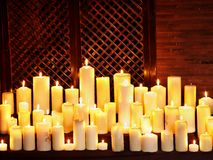 Group lighted candle in spa salon. Stock Image
