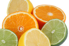 Group of lime, tangelo and lemon royalty free stock photography