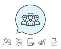 Group line icon. Users or Teamwork sign. Royalty Free Stock Photos