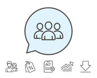Group line icon. Users or Teamwork sign. Royalty Free Stock Photography