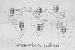 Group of linked international offices on map of the world Royalty Free Stock Photos