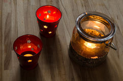 A group of lit candle lanterns Royalty Free Stock Image