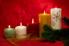 Group of lit candles Stock Photos