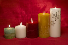 Group of lit candles Stock Images