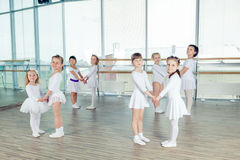 Group of little ballet dancers Stock Photos