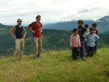 Group of little boys suppliant chocolate/Pokhara/Nepal Royalty Free Stock Photo