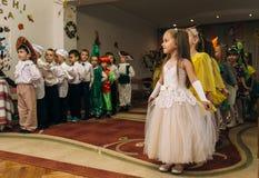 Group of little children. LUTSK, UKRAINE - 02 November 2017: Group of little children during holiday at  kindergarten Royalty Free Stock Image