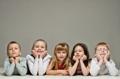 Group of little children lying Royalty Free Stock Photo