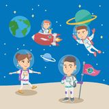Group of little children playing in the astronauts. Caucasian kids astronauts in space suits floating in space, riding a spaceship, settling a flag. Group of Royalty Free Stock Photo