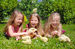 Beautiful girls with chicks Royalty Free Stock Images