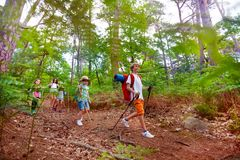Group of kids on hike trail walk with backpacks royalty free stock image