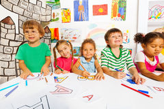 Group of little kids in early development class Royalty Free Stock Photography