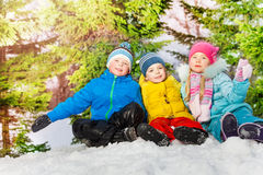 Group of little kids in the snow park at winter Royalty Free Stock Photos