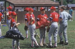 Group of Little League Baseball players. With gear, Hebron, CT Royalty Free Stock Images