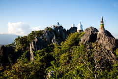 Group of little pagoda. On the top of mountain Stock Photography
