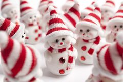 Group of little snowmen Stock Images