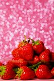 Group of little strawberry soft focus with romantic pink glitter bokeh background. Have some space for write wording royalty free stock images