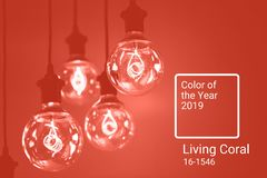 Group of Living Coral lamps royalty free stock photography