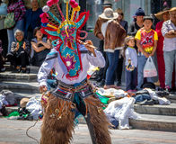 Group in local costume performing ecuadorian traditional dance - Quito, Ecuador Royalty Free Stock Photo