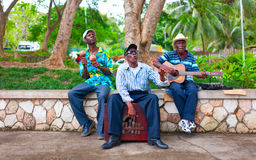 A group of local musicians are playing traditional music for tourists. Royalty Free Stock Photography