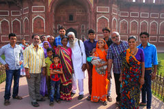 Group of local people standing outside Jahangiri Mahal in Agra F Stock Image