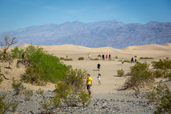 Group of locals and tourist enjoying a blue sky day in the Death Valley National Park Royalty Free Stock Images
