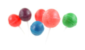 Group of lollipops with the front in focus Stock Photos