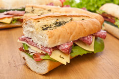 Group of Long Baguette Sandwiches stock photo
