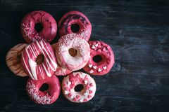 Sweet donuts with hearts Stock Photos