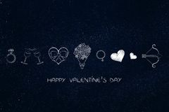 Valentines day love themed icons with caption Stock Photos