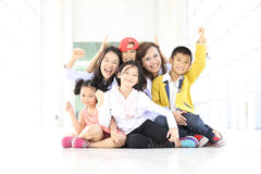 Group lovely kids funny and smile with two adults women Royalty Free Stock Photo